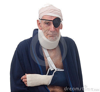 Senior man with multiple injuries