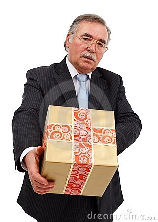 Senior man offering gift
