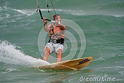 Senior Man Parasail Surfs Off Florida Coast Editorial Stock Image