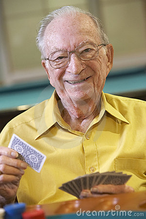 Free Senior Man Playing Bridge Stock Images - 9003854