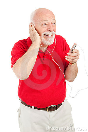 Free Senior Man Playing MP3s Royalty Free Stock Photos - 8513108