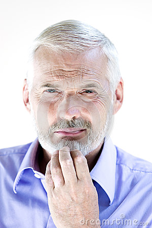 Free Senior Man Portrait Pensive Suspicion Stock Photos - 41498923
