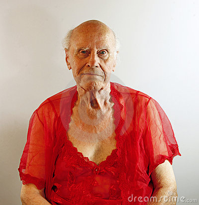 Senior man in red lingerie.