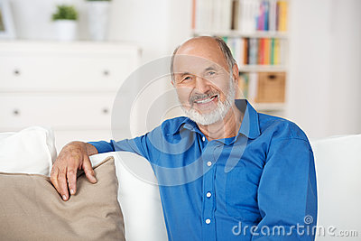 Senior man relaxing at home