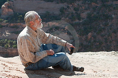 Senior man on rim of Colorado National Monument