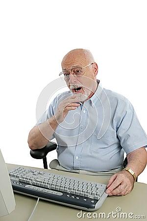 Senior Man Shocked Online