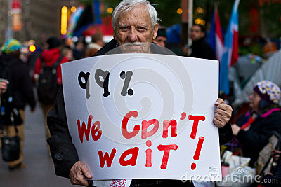Senior man with 99  sign at Occupy Wall Street Editorial Photography