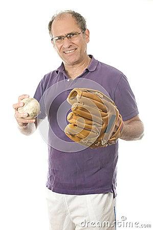 Senior man softball baseball glove