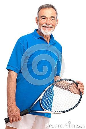 Senior man with a tennis racket