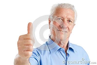 Senior man thumb up
