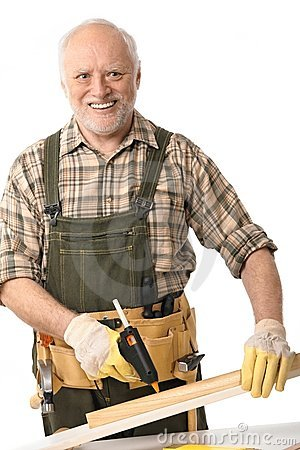 Senior man with tools