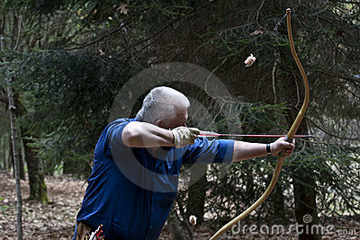 Senior man with traditional historic bow Editorial Image