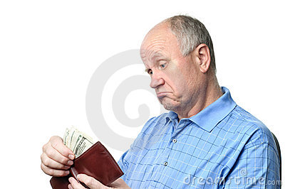 Senior man with wallet
