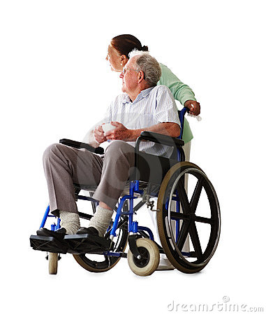 Senior man on a wheelchair assisted by wife