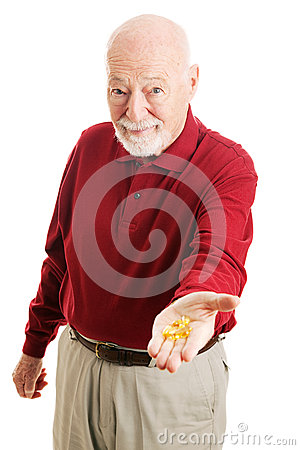 Free Senior Man With Omega 3 Fish Oil Royalty Free Stock Photo - 36831605