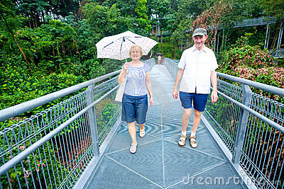 Senior man and woman enjoying a forest walk