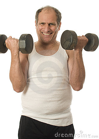 Senior man working out  dumbbell weights