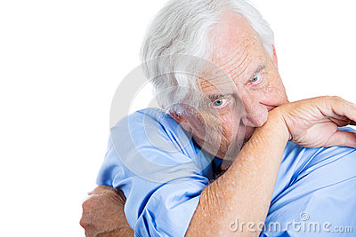 Senior mature, elderly man very nervous, stressed, and thinking about something making him crazy
