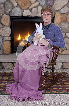 Free Senior Mature Woman Easter Bunny Stuffed Toys Royalty Free Stock Photos - 17615428