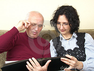 Senior and mature woman sharing old memories