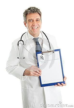 Senior medical doctor man showing prescription