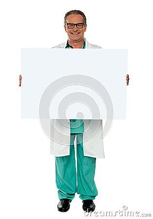 Senior medical professional displaying banner ad
