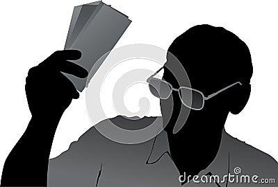 Senior with money illustration