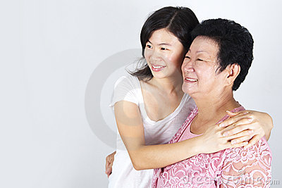 Senior mother and daughter