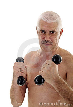 Senior naked man with dumb-bells