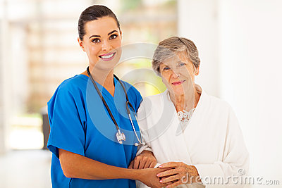 Senior and nurse