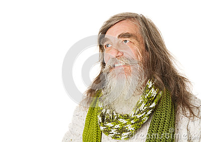 Senior old man happy smiling. Long hair, mustache, beard