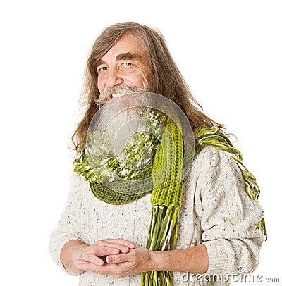Senior old man happy smiling. Long hair, mustache, beard