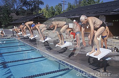 Senior Olympic Swimming competition Editorial Stock Image