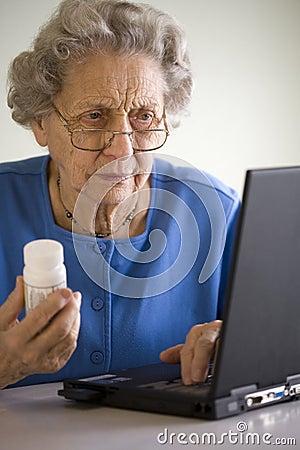 Senior ordering medication online