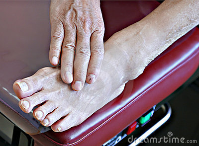 Senior patient foot on bench