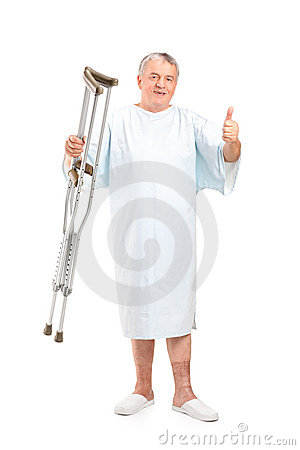 Senior patient holding crutches