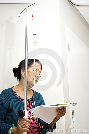 Senior patient read health laboratory result