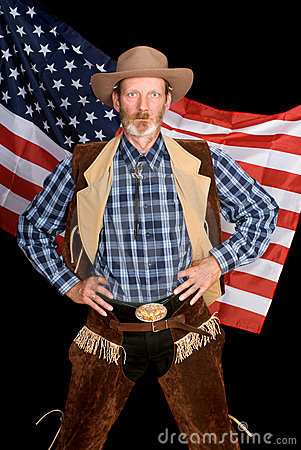 Senior patriot cowboy