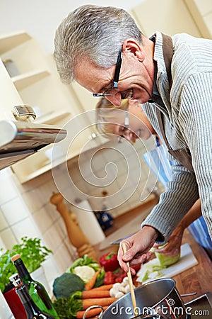 Senior people cooking