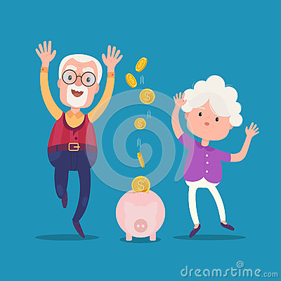 Senior people with golden piggy bank Vector Illustration