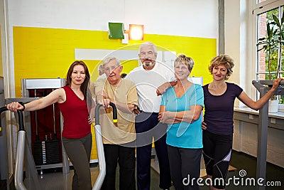 Senior people group in gym
