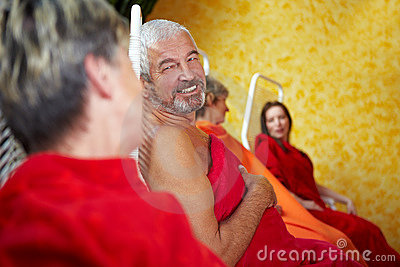 Senior people talking in Spa