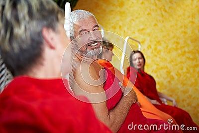 Senior people talking in Spa