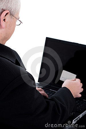 Senior person looking into his swipe card