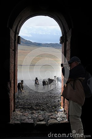 Free Senior Photographer Behind The Window Stock Image - 158856571
