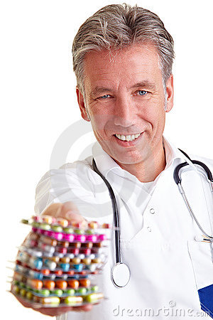 Senior physician offering pills