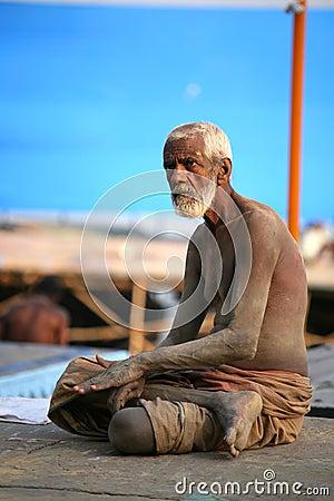 A senior pilgrim, Vanarasi,india Editorial Photography