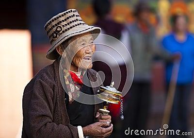 Senior prayer in Tibet Editorial Stock Photo
