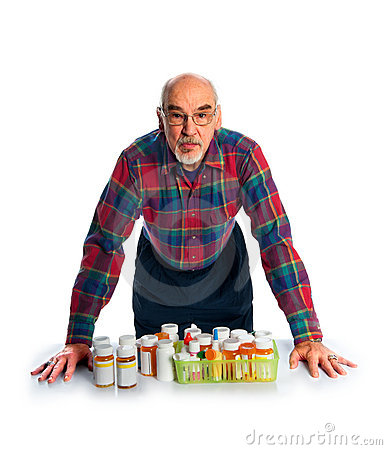Senior with prescription bottles