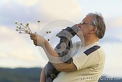 Senior with puppy